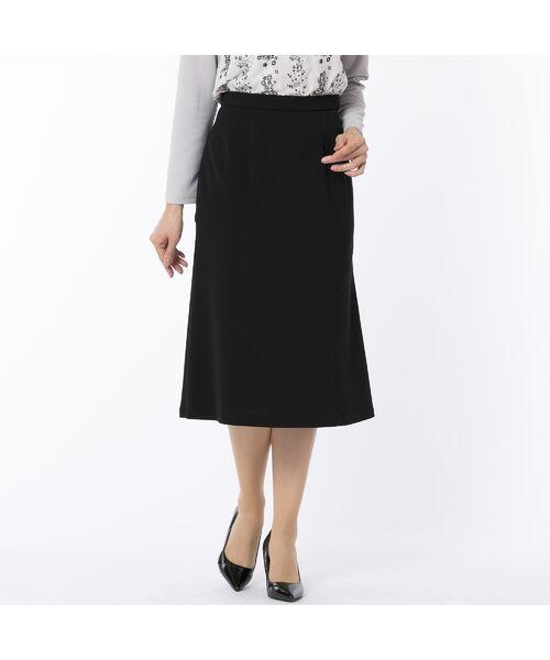 LOBJIE / ロブジェ ミニ・ひざ丈スカート   [セットアップ対応] アシンメトリー切り替えのセミフレアースカート(ブラック)