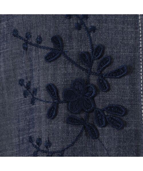 LOBJIE / ロブジェ ベスト | 3Dフラワー刺繍のデニム調ベスト | 詳細10