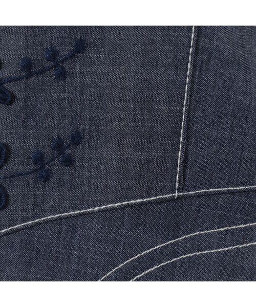 LOBJIE / ロブジェ ベスト | 3Dフラワー刺繍のデニム調ベスト | 詳細11
