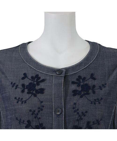 LOBJIE / ロブジェ ベスト | 3Dフラワー刺繍のデニム調ベスト | 詳細5