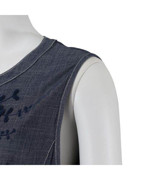 LOBJIE / ロブジェ ベスト | 3Dフラワー刺繍のデニム調ベスト | 詳細6