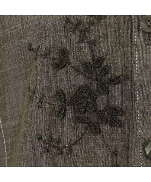 LOBJIE / ロブジェ ベスト | 3Dフラワー刺繍のデニム調ベスト | 詳細17