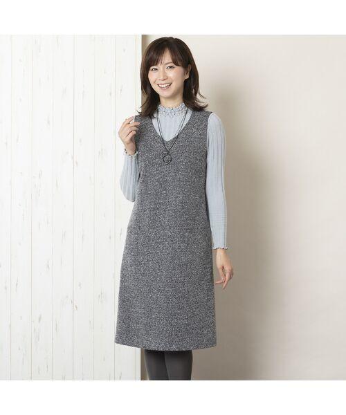 LOBJIE / ロブジェ ミニ丈・ひざ丈ワンピース   ツイルニット ジャンパードレス(グレー)