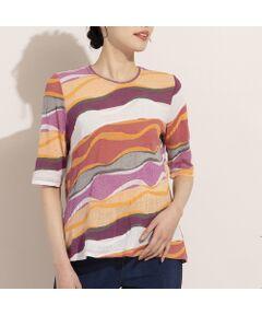 ■商品紹介■<br><font color='#0063B1'>◆高見えするジャガードニットのボーダーTシャツ◆<br></font><br>国内尾州産のジャガードニットを使ったTシャツです。<br>ガーゼのようなソフトは肌触りと伸縮性の高さで着心地は抜群。<br>マルチカラーのボーダー柄は表情感があり、プリントTシャツとは違う上質感が漂います。<br>斜めに流れるような柄感もポイント。<br>二の腕をカバーする長めの袖丈で着やすく、コーディネートのアクセントになってくれます。<br><br>夏の陽射しに映えるレッド系とイエロー系の2色展開です。<br><br>*日本製<br><br>【モデル身長172cm】<br><br>※ベストとのコーディネート着用のモデル身長は165cmです<br><br>■コーディネイト■<br>1枚ではもちろん、ベストやカーディガンを羽織ったスタイルがおすすめです。<br>ボトムはパンツ・スカートどちらでもコーディネートが可能。<br>エスニック風のアクセサリーやカゴバッグと合わせても素敵に着て頂けます。<br><br>■商品特性■<br>素材の厚さ:やや薄い<br>素材の透け感:やや透ける<br>素材の光沢:光沢がない<br>素材の伸縮性:ある<br>袖丈:5分袖<br>柄位置:商品によって異なる可能性あり<br><br><br>◆ LOBJIE Brand Concept ◆<br>旬なデザイン、素材を使ったトレンドアイテムから上質で高級感溢れるエレガンスアイテムまでを揃えたタウンコーディネートブランド。<br><br>*撮影環境により光の当たり具合で色味が違って見える場合があります。<br>*商品画像はサンプルのため、色味やサイズ、プリント位置、仕様などに変更がある場合があります。<br>*取扱い表示をご確認の上、着用をお願いします。<BR>