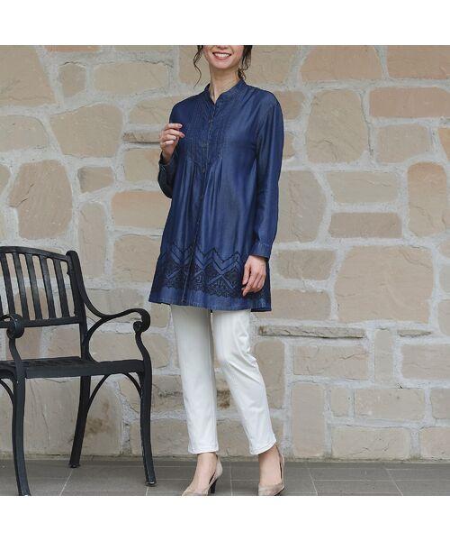 LOBJIE / ロブジェ シャツ・ブラウス | セルロースデニム刺繍入りロングシャツ | 詳細11