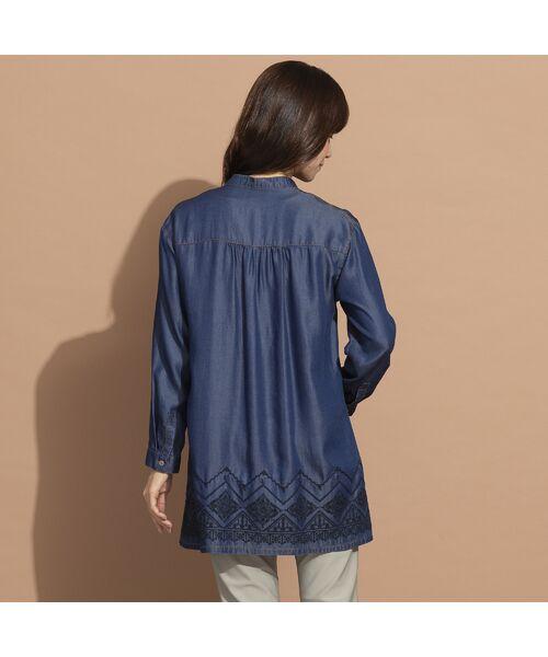 LOBJIE / ロブジェ シャツ・ブラウス | セルロースデニム刺繍入りロングシャツ | 詳細2