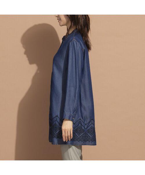 LOBJIE / ロブジェ シャツ・ブラウス | セルロースデニム刺繍入りロングシャツ | 詳細3