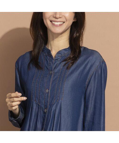 LOBJIE / ロブジェ シャツ・ブラウス | セルロースデニム刺繍入りロングシャツ | 詳細5