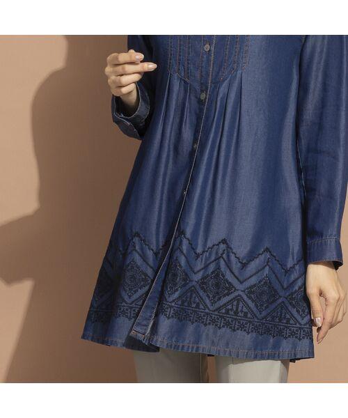 LOBJIE / ロブジェ シャツ・ブラウス | セルロースデニム刺繍入りロングシャツ | 詳細6