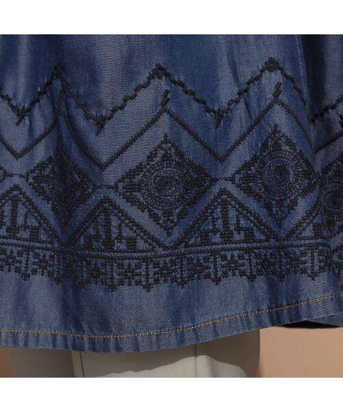 LOBJIE / ロブジェ シャツ・ブラウス | セルロースデニム刺繍入りロングシャツ | 詳細7