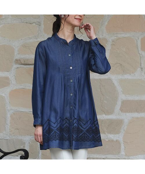 LOBJIE / ロブジェ シャツ・ブラウス | セルロースデニム刺繍入りロングシャツ(ダークブルー)
