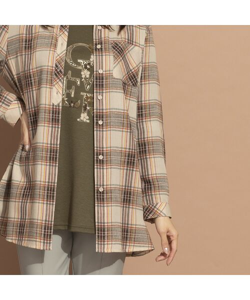 LOBJIE / ロブジェ シャツ・ブラウス   モール糸ミックスカラーチェックシャツ   詳細5