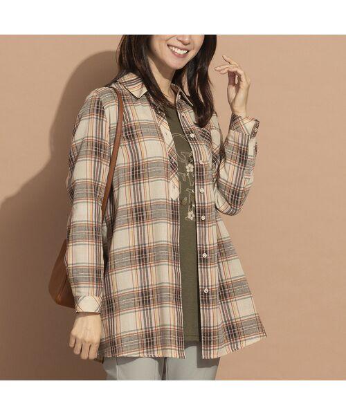 LOBJIE / ロブジェ シャツ・ブラウス   モール糸ミックスカラーチェックシャツ(ベージュ)
