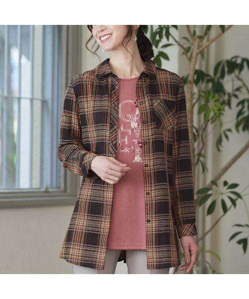 LOBJIE / ロブジェ シャツ・ブラウス   モール糸ミックスカラーチェックシャツ(ブラウン)