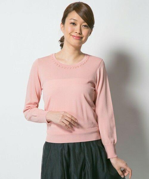 L size ONWARD(大きいサイズ) / エルサイズオンワード ニット・セーター | ビジューニット プルオーバー(ピンク系)