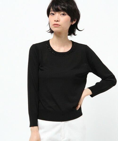 L size ONWARD(大きいサイズ) / エルサイズオンワード ニット・セーター | ビジューニット プルオーバー(ブラック系)