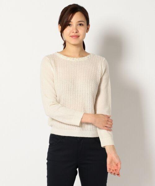 L size ONWARD(大きいサイズ) / エルサイズオンワード ニット・セーター | タムヤーンビジューニット(アイボリー系)