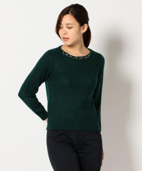 L size ONWARD(大きいサイズ) / エルサイズオンワード ニット・セーター | タムヤーンビジューニット(ダークグリーン系)