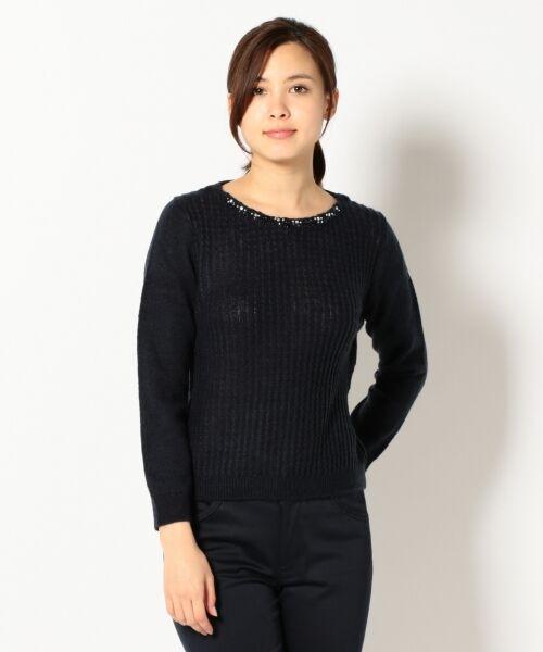 L size ONWARD(大きいサイズ) / エルサイズオンワード ニット・セーター | タムヤーンビジューニット(ネイビー系)