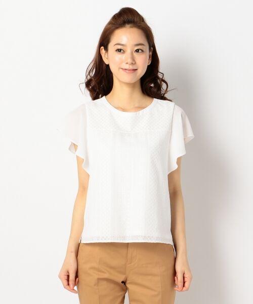 L size ONWARD(大きいサイズ) / エルサイズオンワード Tシャツ | 【洗える】シフォンレースコンビ カットソー | 詳細6