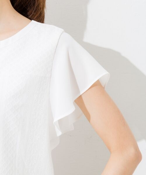 L size ONWARD(大きいサイズ) / エルサイズオンワード Tシャツ | 【洗える】シフォンレースコンビ カットソー | 詳細15