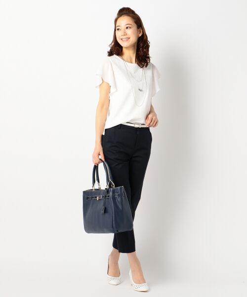 L size ONWARD(大きいサイズ) / エルサイズオンワード Tシャツ | 【洗える】シフォンレースコンビ カットソー | 詳細4