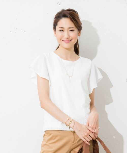 L size ONWARD(大きいサイズ) / エルサイズオンワード Tシャツ | 【洗える】シフォンレースコンビ カットソー(ホワイト系)