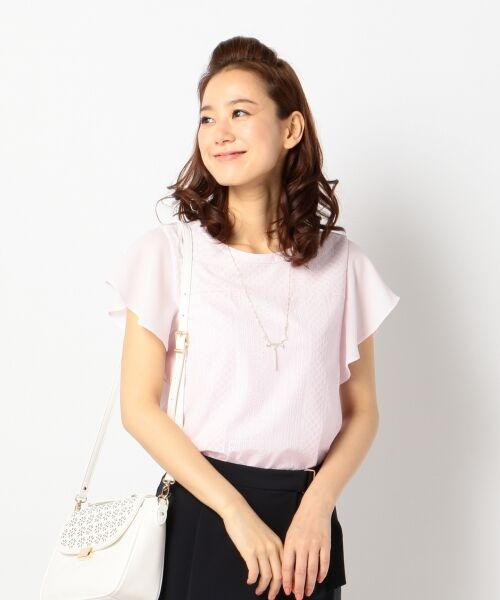 L size ONWARD(大きいサイズ) / エルサイズオンワード Tシャツ | 【洗える】シフォンレースコンビ カットソー(ピンク系)