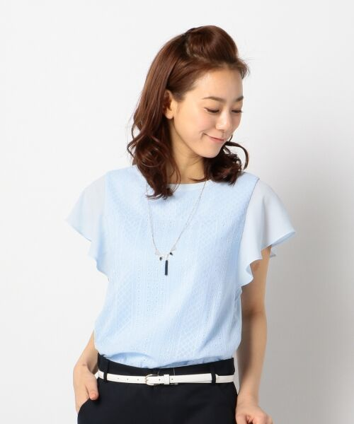 L size ONWARD(大きいサイズ) / エルサイズオンワード Tシャツ | 【洗える】シフォンレースコンビ カットソー(サックスブルー系)