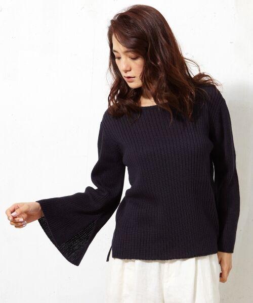 L size ONWARD(大きいサイズ) / エルサイズオンワード ニット・セーター | 【洗える!】ギマコットン フレアスリーブニット | 詳細14