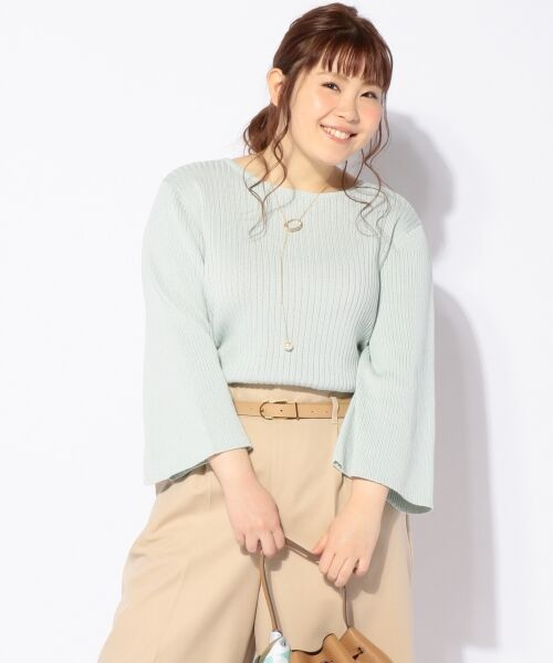 L size ONWARD(大きいサイズ) / エルサイズオンワード ニット・セーター | 【洗える!】ギマコットン フレアスリーブニット(ライトグリーン系)
