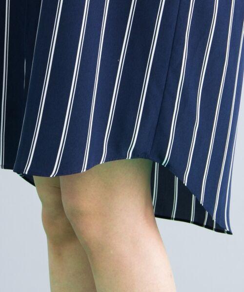 L size ONWARD(大きいサイズ) / エルサイズオンワード ミニ丈・ひざ丈ワンピース   【セットアップ可・洗える】TenderStripe シャツワンピース   詳細9