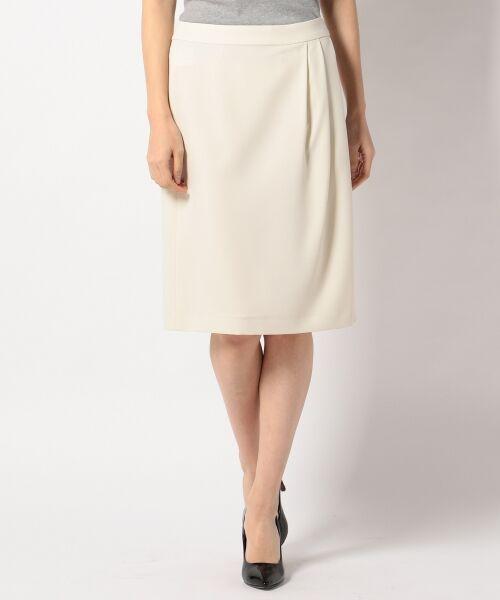 L size ONWARD(大きいサイズ) / エルサイズオンワード ミニ・ひざ丈スカート | 【セットアップ対応】リラクションツイル ラップスカート(アイボリー系)