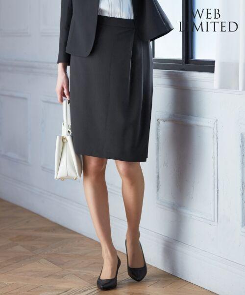 L size ONWARD(大きいサイズ) / エルサイズオンワード ミニ・ひざ丈スカート | 【セットアップ対応】リラクションツイル ラップスカート(ブラック系)