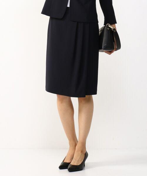 L size ONWARD(大きいサイズ) / エルサイズオンワード ミニ・ひざ丈スカート | 【セットアップ対応】リラクションツイル ラップスカート(ネイビー系)