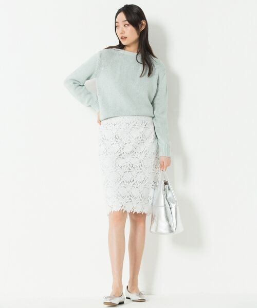 L size ONWARD(大きいサイズ) / エルサイズオンワード ミニ・ひざ丈スカート | 【洗える】シック クラフトレース スカート | 詳細1