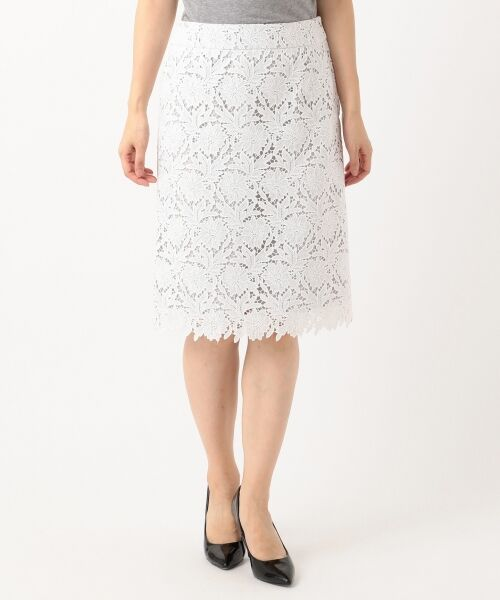 L size ONWARD(大きいサイズ) / エルサイズオンワード ミニ・ひざ丈スカート | 【洗える】シック クラフトレース スカート | 詳細3