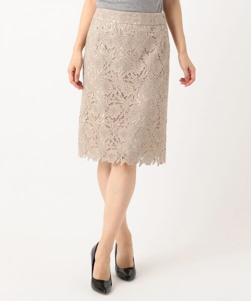 L size ONWARD(大きいサイズ) / エルサイズオンワード ミニ・ひざ丈スカート | 【洗える】シック クラフトレース スカート | 詳細15