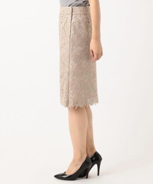 L size ONWARD(大きいサイズ) / エルサイズオンワード ミニ・ひざ丈スカート | 【洗える】シック クラフトレース スカート | 詳細6