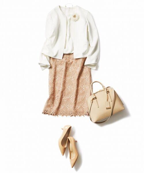 L size ONWARD(大きいサイズ) / エルサイズオンワード ミニ・ひざ丈スカート | 【洗える】シック クラフトレース スカート | 詳細7