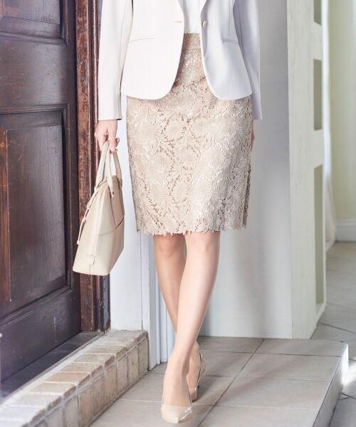L size ONWARD(大きいサイズ) / エルサイズオンワード ミニ・ひざ丈スカート | 【洗える】シック クラフトレース スカート(ベージュ系)