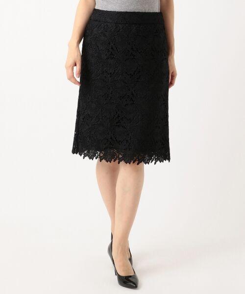 L size ONWARD(大きいサイズ) / エルサイズオンワード ミニ・ひざ丈スカート | 【洗える】シック クラフトレース スカート | 詳細18