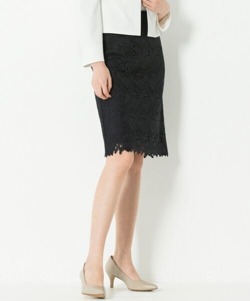 L size ONWARD(大きいサイズ) / エルサイズオンワード ミニ・ひざ丈スカート | 【洗える】シック クラフトレース スカート(ネイビー系)