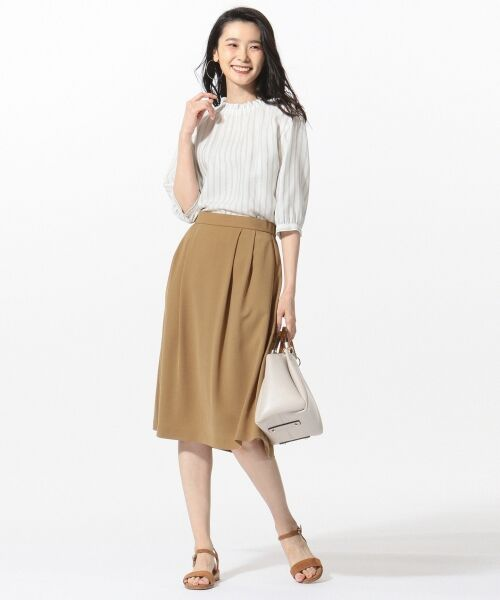 L size ONWARD(大きいサイズ) / エルサイズオンワード ミニ・ひざ丈スカート | 【洗える】パウダーポリ スカート | 詳細1
