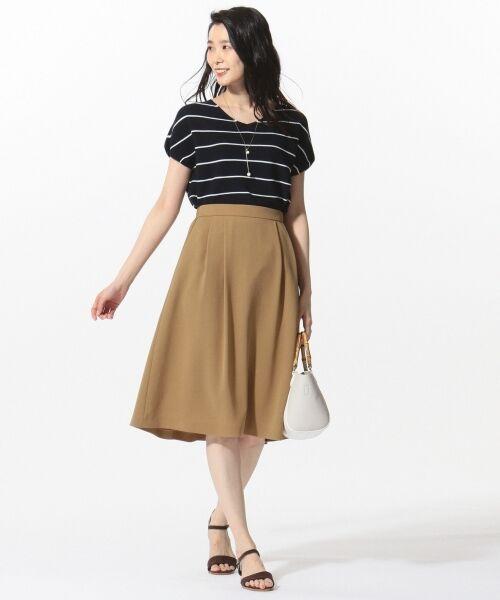 L size ONWARD(大きいサイズ) / エルサイズオンワード ミニ・ひざ丈スカート | 【洗える】パウダーポリ スカート | 詳細2