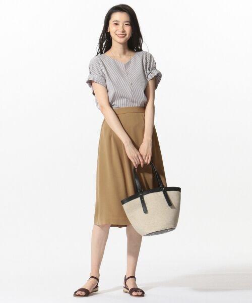 L size ONWARD(大きいサイズ) / エルサイズオンワード ミニ・ひざ丈スカート | 【洗える】パウダーポリ スカート | 詳細3