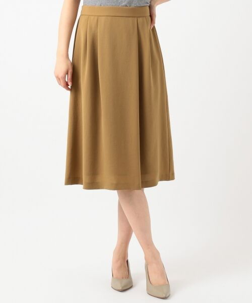 L size ONWARD(大きいサイズ) / エルサイズオンワード ミニ・ひざ丈スカート | 【洗える】パウダーポリ スカート | 詳細4
