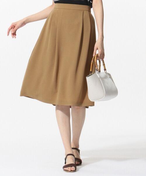 L size ONWARD(大きいサイズ) / エルサイズオンワード ミニ・ひざ丈スカート | 【洗える】パウダーポリ スカート(キャメル系)
