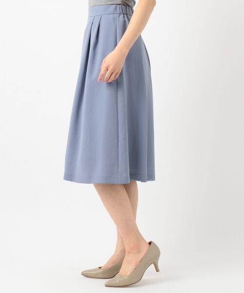 L size ONWARD(大きいサイズ) / エルサイズオンワード ミニ・ひざ丈スカート | 【洗える】パウダーポリ スカート | 詳細8