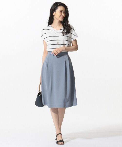 L size ONWARD(大きいサイズ) / エルサイズオンワード ミニ・ひざ丈スカート | 【洗える】パウダーポリ スカート | 詳細5